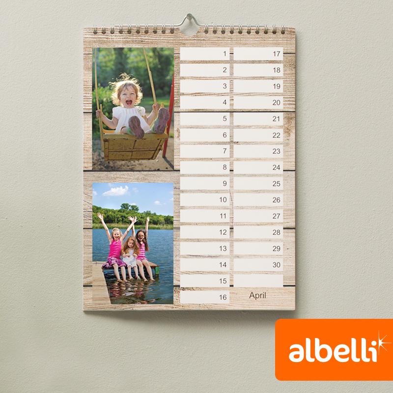 Verjaardagskalender met eigen foto's - Staand A4 van 21x29,7 cm